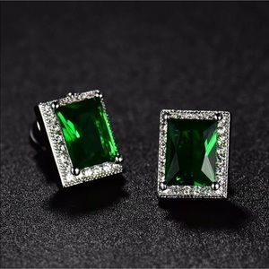 Jewelry - 18K GF emerald stud earrings